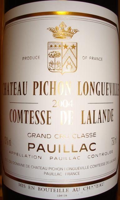Ch Pichon Longueville Comtesse de Lalande 2004