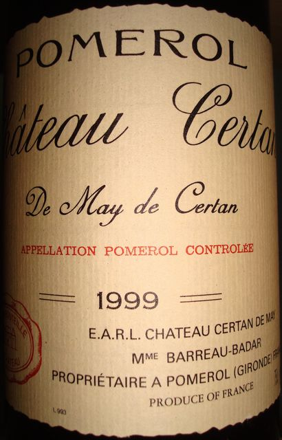 Chateau Certan de May 1999