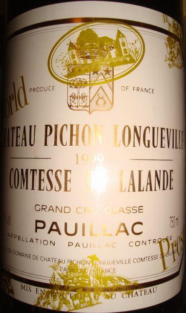 Ch Pichon Longueville Comtesse de Lalande 1999