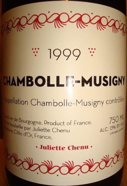 Chambolle Musigny Juliette Chenu 1999