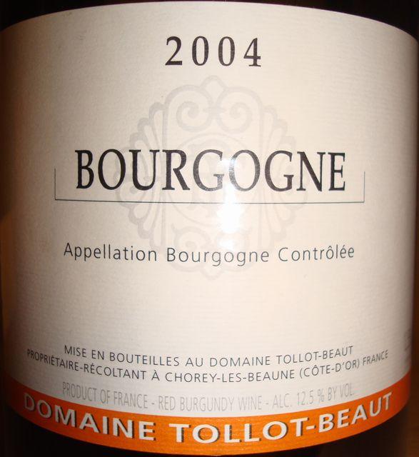 Bourgogne Domaine Tollot Beaut 2004