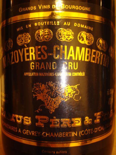 Mazoyeres Chambertin Grand Cru Camus Peres Fils 1999