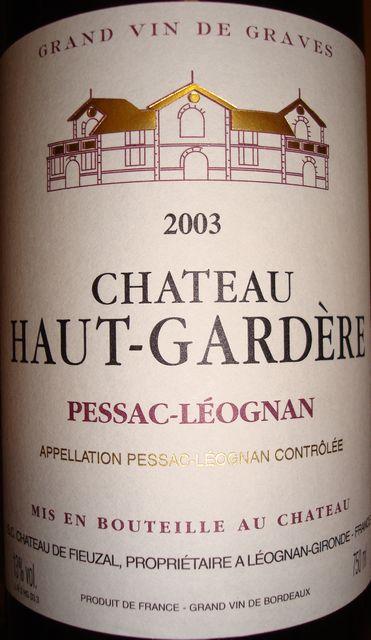 Chateau Haut Gardere 2003