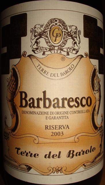 Barbaresco Terre Del Barolo E Garantita Riserva 2003