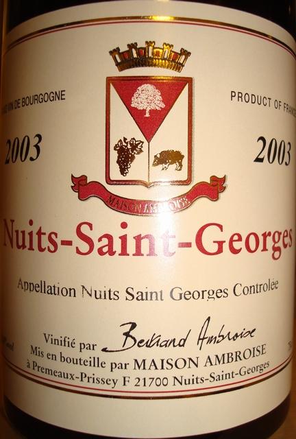 Nuits Saint Georges Maison Bertrand Ambroise 2003