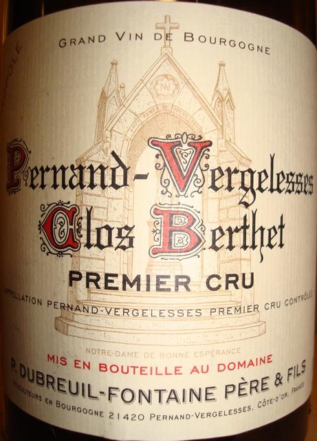 Pernand Vergelesses Clos Berthet P Dubreuil Fontaine 2005