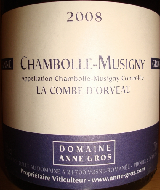 Chambolle Musigny La Combe DOrveau Domaine Anne Gros 2008
