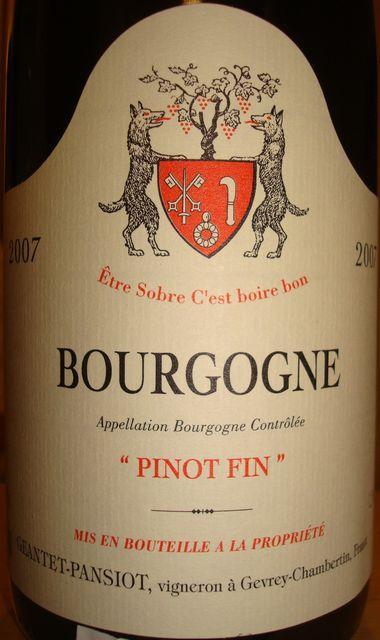 Bourgogne Pinot Fin Geantet Pansiot 2007
