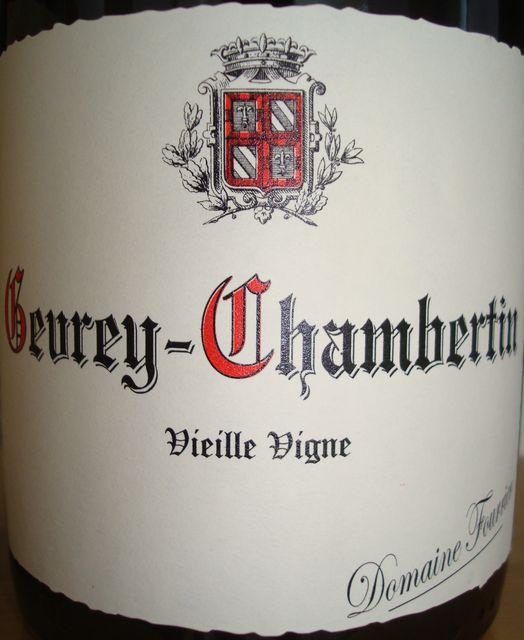 Gevrey Chambertin vieille vigne Domaine Fourrier 2008