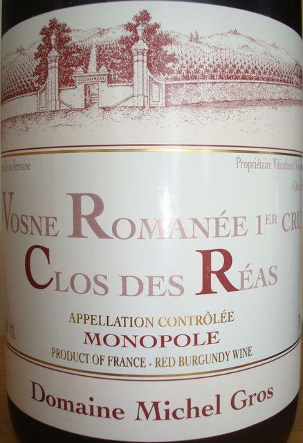 Vosne Romanee 1er Cru Clos Des Reas Domaine Michel Gros 2007