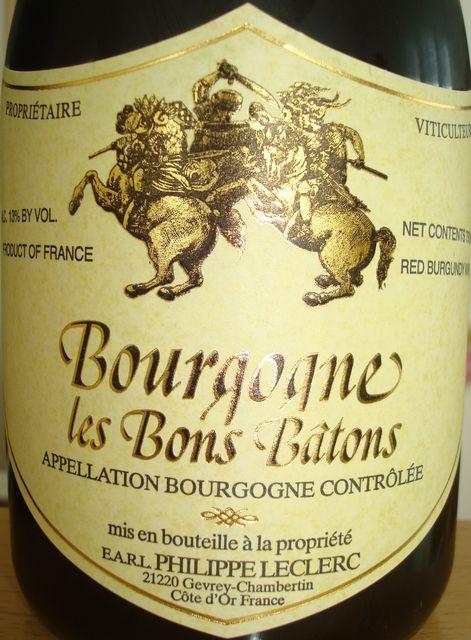 Bourgogne les Bons Batons Domaine Philippe Leclerc 1999