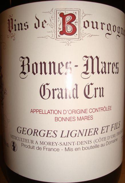 Bonnes Mares Grand Cru Georges Lignier et Fils 2001