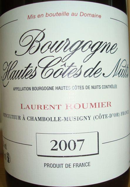 Bourgogne Hautes Cotes de Nuits Laurent Roumier 2007