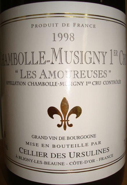 Chambolle Musigney Les Amoureuses Cellier Des Ursulines 1998