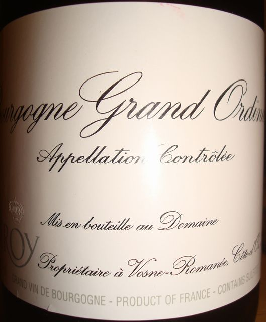Bourgogne Grand Ordinaire Leroy 2008