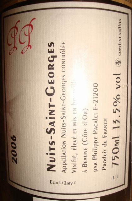 Nuits Saint Georges Philippe Pacalet 2006 Part2