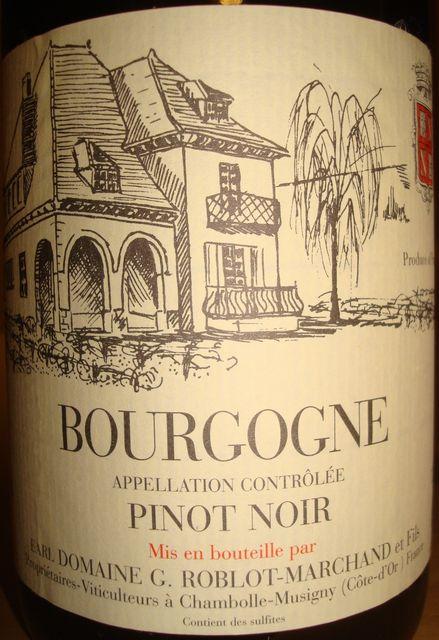 Bourgogne Pinot Noir G Roblot Marchand 2008