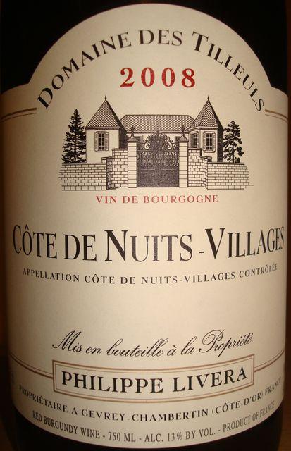Cote De Nuits Villages Domaine Des Tilleuls Philippe Livera 2008