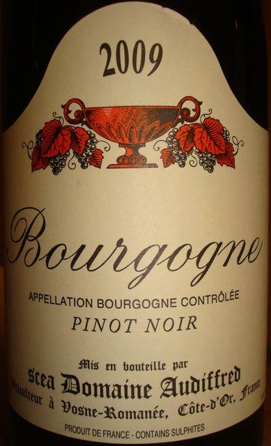 Bourgogne Pinot Noir Domaine Audiffred 2009