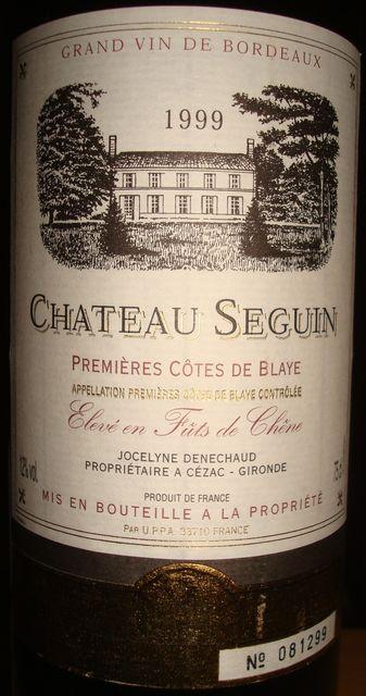 Chateau Seguin Premieres Cotes de Blaye 1999