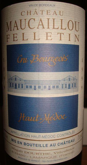 Chateau Maucaillou Felletin Haut Medoc 1999