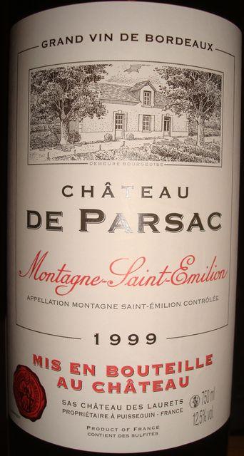 Chateau De Parsac Montagne Saint Emilion 1999