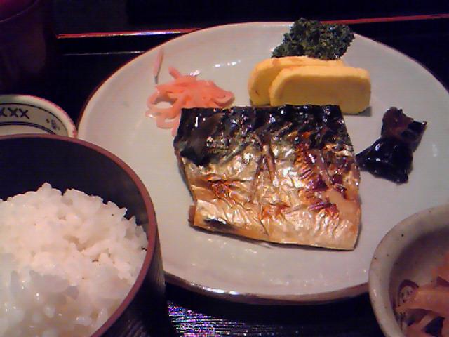 瀬るび(さばの塩焼き定食680円)
