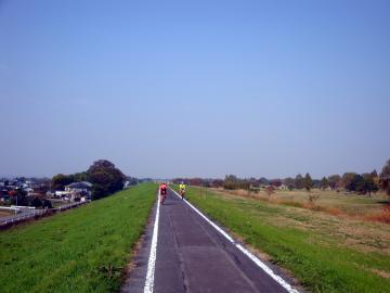 自転車道 荒川自転車道 : すっかり秋の色になった木々の ...