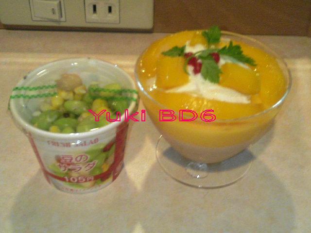 豆サラダとマンゴープリン