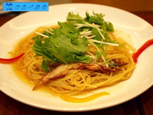 有頭海老と水菜の和風