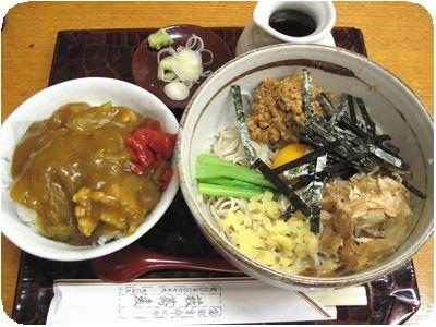 冷やし納豆そば+ミニカレー丼