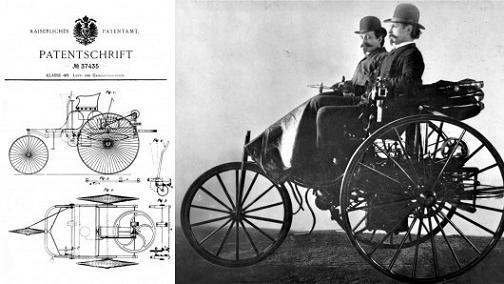 特許37435(左)とパテント・モトールヴァーゲン1号車(右)