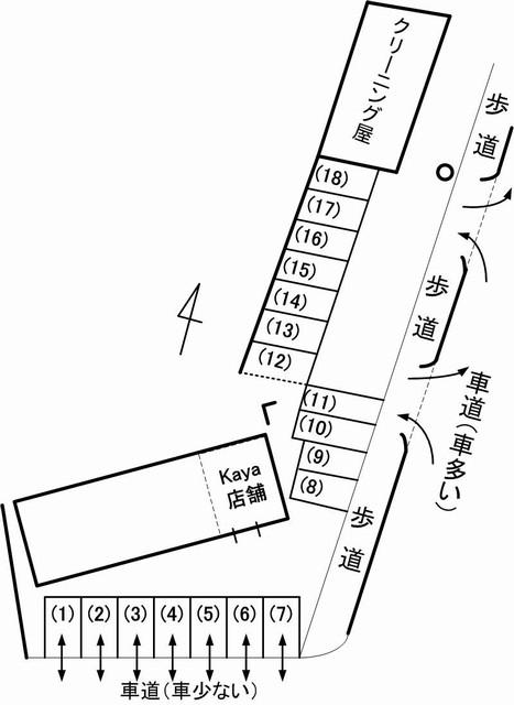 cafekaya駐車場見取り図