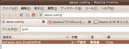 ubuntu 9.10 インストール Firefox IPv6無効化